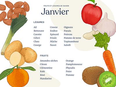 Seasonal food calendar - January illustration calendar list vegetables fruits