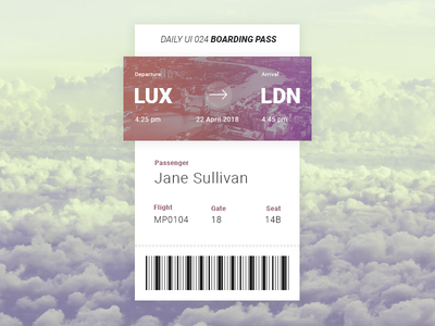 Daily UI #24 - Boarding Pass airlines pass boarding dailyui