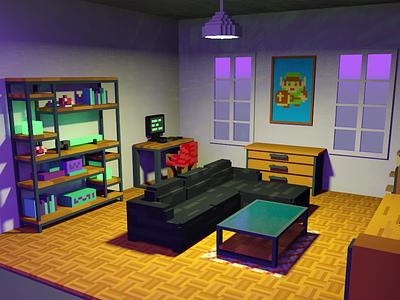 Illustration - Voxel Living Room zelda retro illustration voxelart magicavoxel