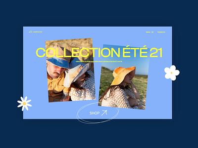 Shop Nuee Bleue creative ux ui beach yellow eshop shop hats sun summer cinema modern webdesign design