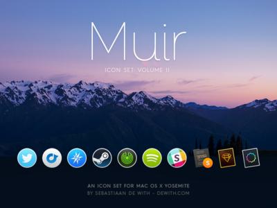 Muir: Yosemite Icons, Set 2 yosemite twitter rdio browser tor slack sublime text sketch replacement dock mac