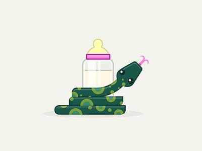 Baby Python illustration nylas coding cute infant bottle nursing snake python baby