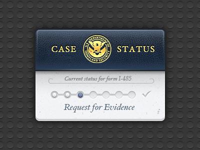 USCIS Case Tracker Widget passport blue leather faux dark dashboard widget paper steps progress