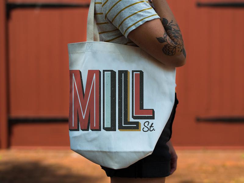 Mill Street Branding + Logo collateral brand identity bag color city logo community