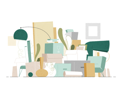 moving pile interior color vector illustration