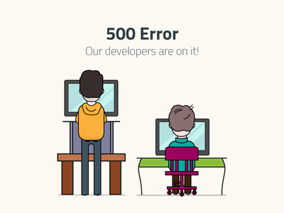 500 Error 500 error vector illustration character people