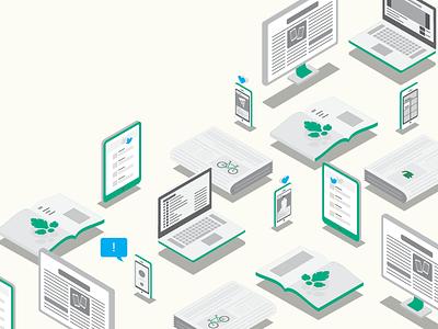 Guide to Online Media vector illustration isometric iphone ipad macbook laptop newspaper magazine monitor social media