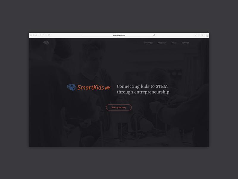 SmartKidsNY simple ui homepage stem dark website