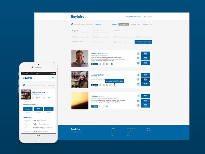 BuyIntro Listing footer profile desktop mobile linkedin filter search listing ui website