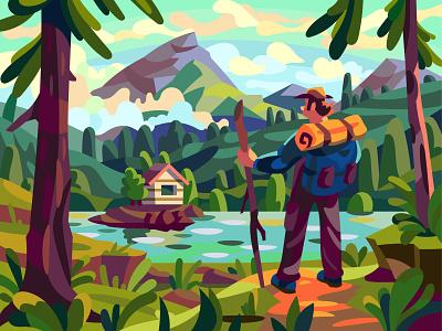 Mountain lake drawing landscape graphic digital character cartoon illustration vector art design