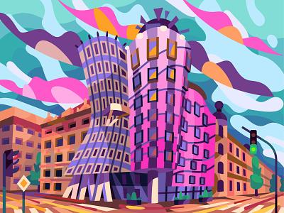 Dancing house house dancing landscape prague building graphic digital illustration vector design