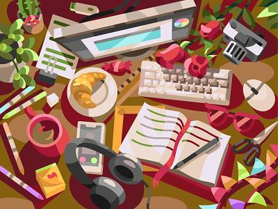 Creative chaos drawing digital cartoon illustration vector art design