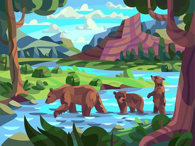 Bear family animal art mammal bears drawing landscape character digital cartoon illustration vector art design