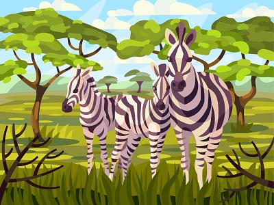 Zebra family africa childrens zebra drawing landscape digital illustration vector art design
