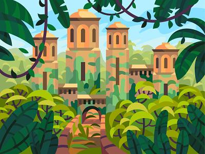 Ancient castle jungle castle ancient drawing landscape graphic digital illustration vector art design