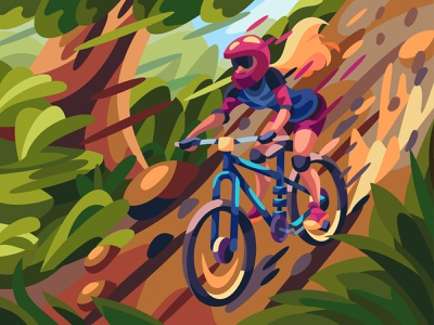Mountain bike bycicle bike character comic landscape graphic cartoon digital illustration art vector design