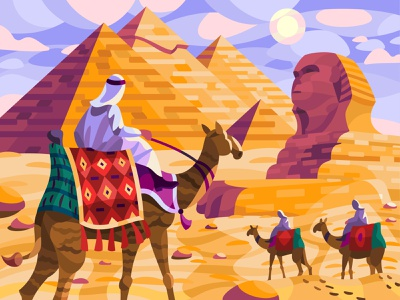 Giza pyramid complex sphinx pharaoh egypt camels pyramid giza landscape graphic digital illustration art vector design