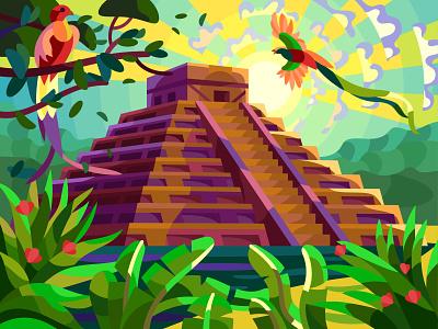 Chichen Itza birds pyramid landscape graphic digital illustration art vector design