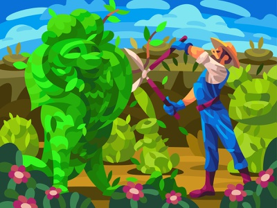 Figure bushes landscape graphic character digital illustration art vector design