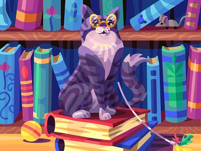Book cat cat comic graphic character digital cartoon illustration art vector design