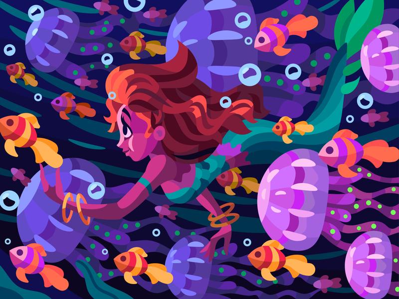 Pretty mermaid girl mermay mermaid graphic character digital cartoon illustration art vector design