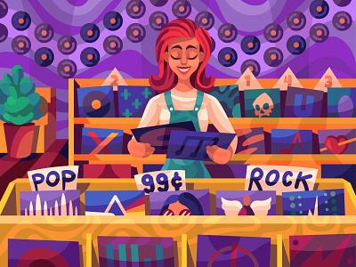 Music shop music girl drawing graphic character digital cartoon illustration art vector design