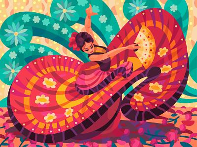 Mexican beauty girl drawing character digital cartoon illustration art vector design