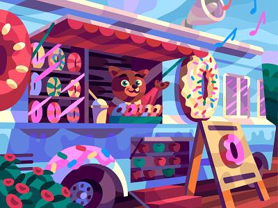 Dessert truck comic drawing graphic character digital cartoon illustration art vector design