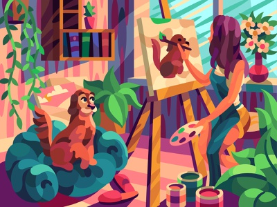 Artist's muse comic drawing graphic character digital cartoon illustration art vector design