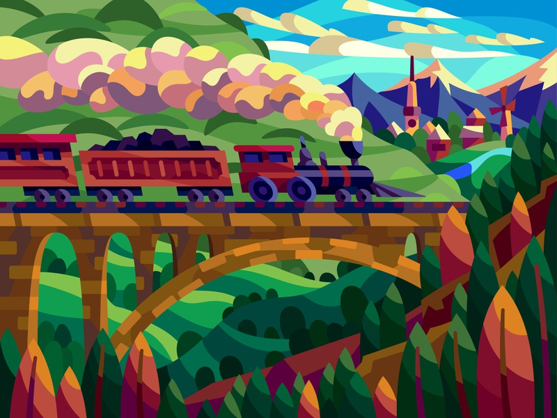Old train graphic landscape digital cartoon illustration art vector design