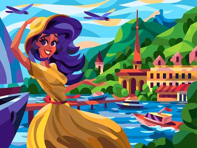 Mountain village girl drawing landscape character digital cartoon illustration art vector design