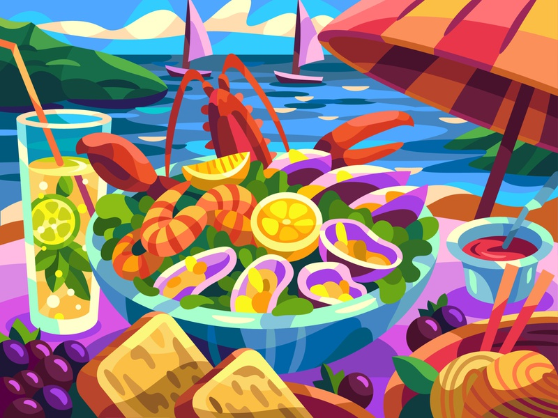 Seafood sea drawing landscape graphic digital cartoon illustration art vector design