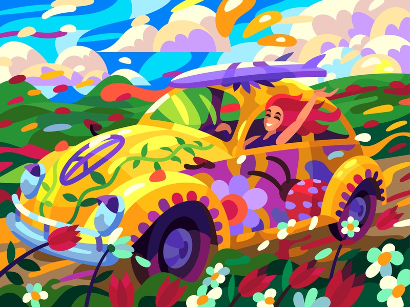 Patterned volkswagen girl landscape character digital cartoon illustration art vector design