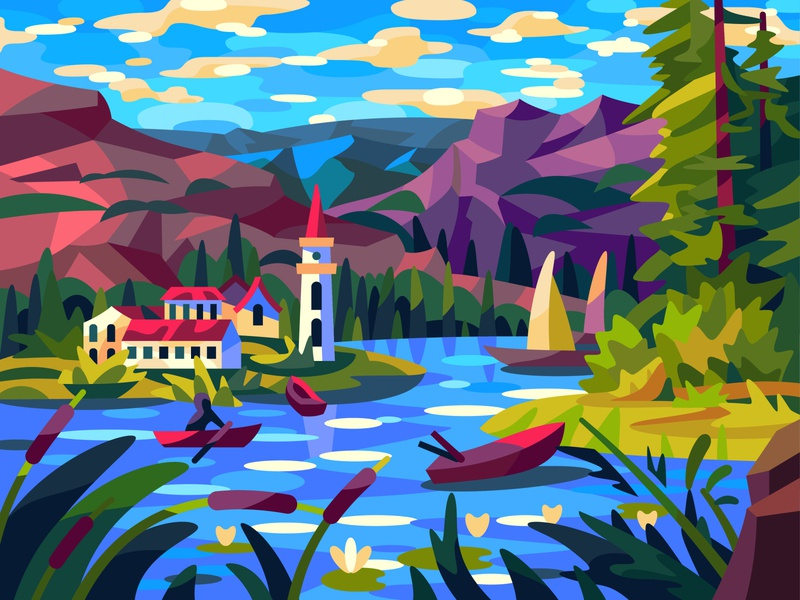 Quiet lake lake town mountains nature drawing landscape illustration art vector design