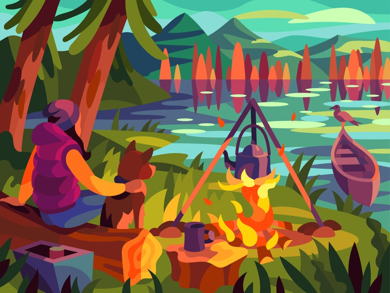 Autumn camping drawing landscape graphic digital illustration art vector design