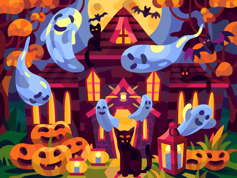 Ghost house pumkin halloween graphic drawing cartoon illustration art vector design
