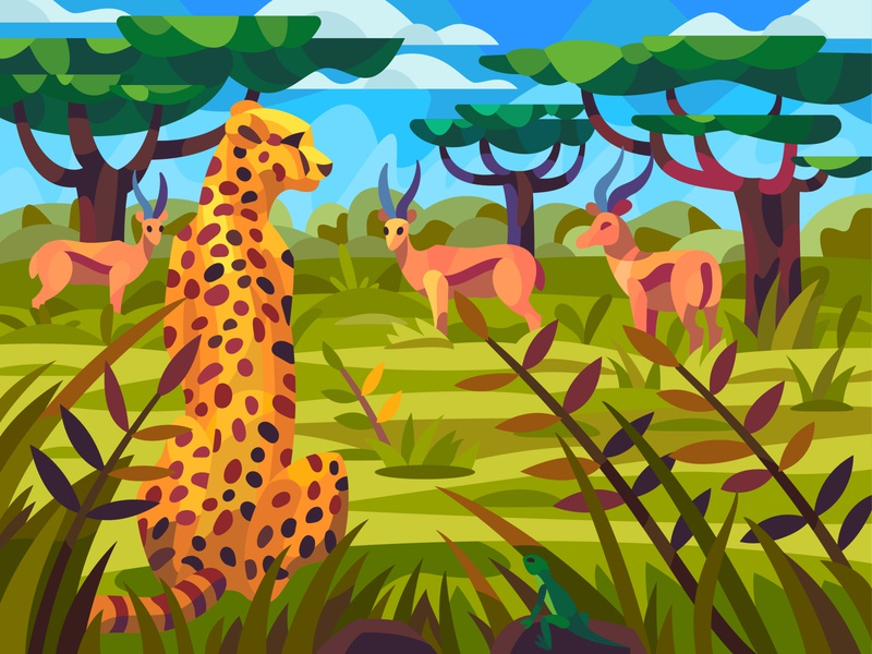 Savanna landscape drawing landscape digital cartoon illustration art vector design