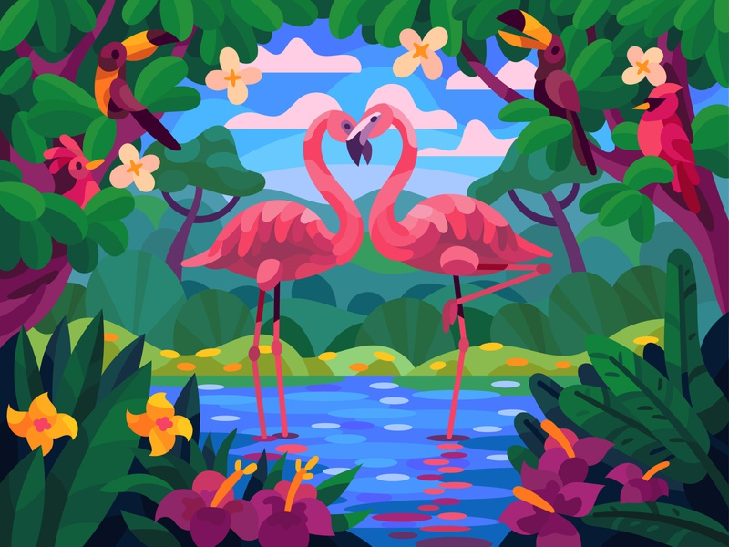 Lovely flamingos drawing landscape graphic digital art illustration vector design