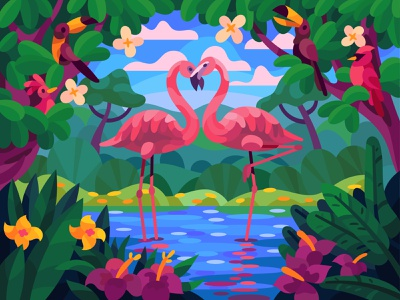 Lovely flamingos drawing landscape graphic digital art illustration vector design