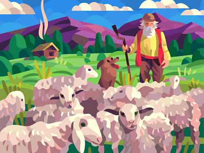 Sheep shepherd drawing landscape graphic character digital cartoon illustration art vector design