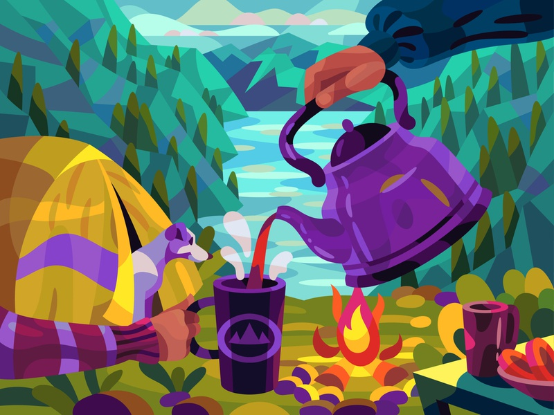 Teatime in mountains landscape graphic digital cartoon illustration art vector design