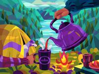 Teatime in mountains landscape graphic digital cartoon illustration art vector design