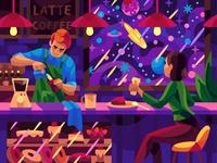 Space coffee drawing landscape character digital cartoon illustration art vector design