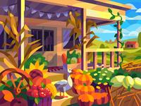 Autumn yard drawing landscape digital cartoon illustration art vector design