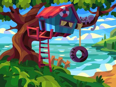 Tree house digital cartoon illustration art vector design