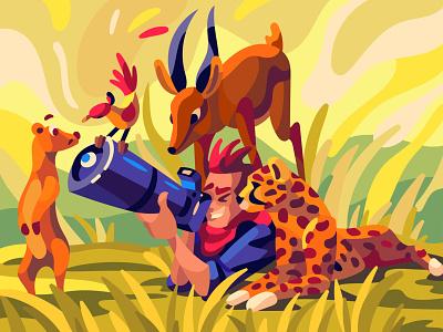 wildlife character digital cartoon art illustration vector design