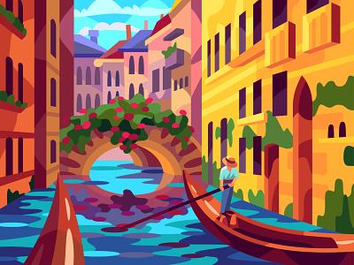 Venice canals digital illustration art vector design