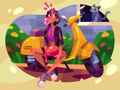 scooter, girl, cat character digital cartoon illustration art vector design