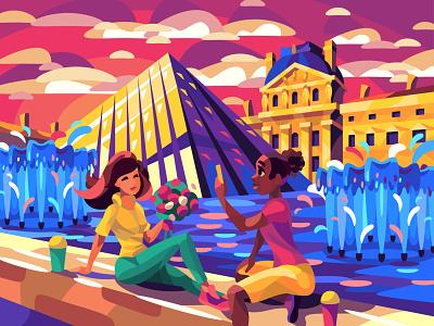 Louvre pyramid character digital cartoon illustration art vector design