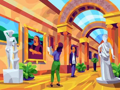 Louvre character digital cartoon illustration art vector design